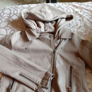 NWOT Taupe Faux Leather Motto Jacket